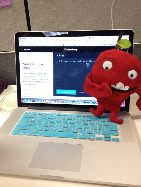 Red Apple gets his code on via the interweb.