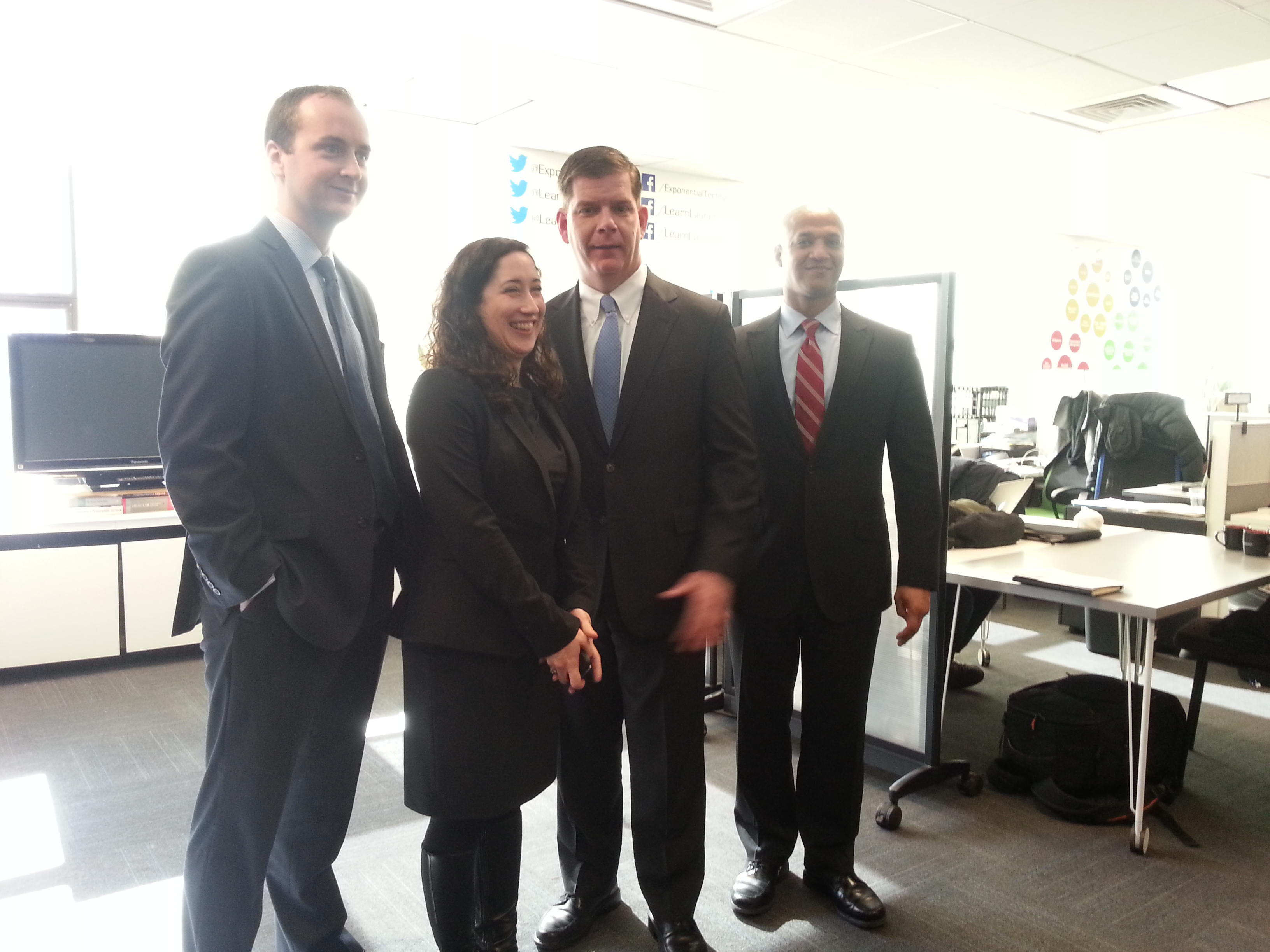 L to R: Mark Racine, Melissa Dodd, Major Marty Walsh, and John Barros