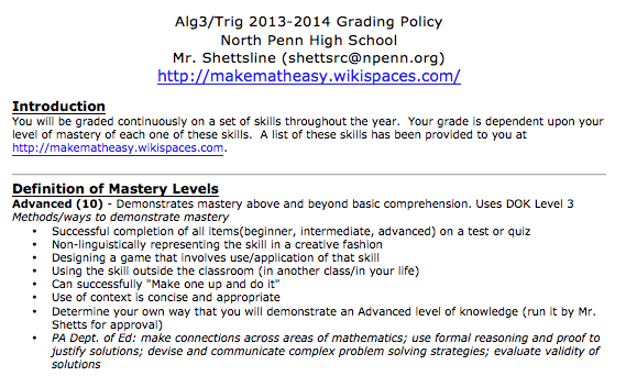 Ms. Shettsline grading policy